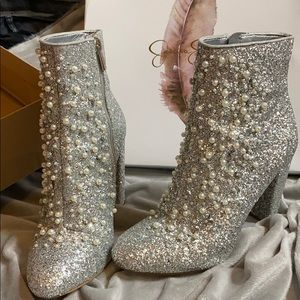 Jessica Simpson Pearl and Glitter Booties